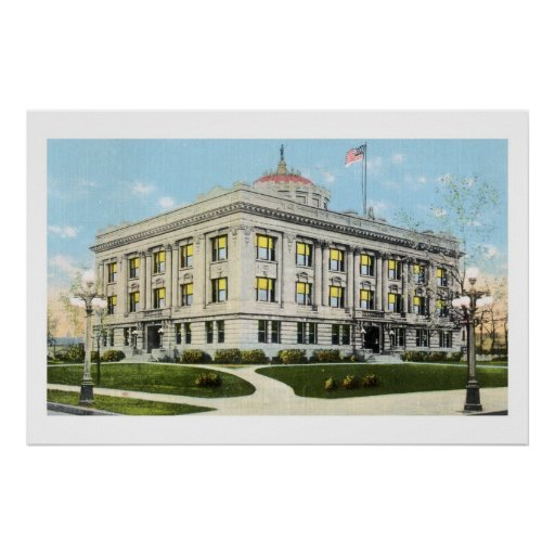 Courthouse World war Memorial club, Grand Forks ND Poster