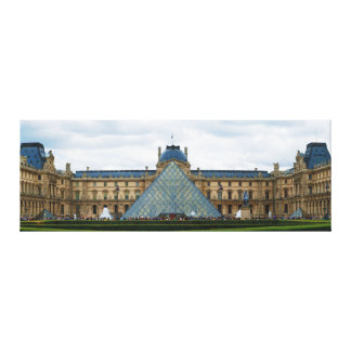 Courtyard of the Louvre Museum with the Pyramid Stretched Canvas Prints