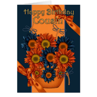 Cousin Birthday Card - Sunflower And Dragonfly
