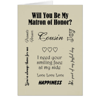 Cousin, Will You Be My Matron of Honor? Beige Card