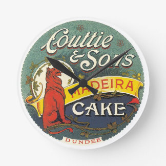 Couttie & Son's Madeira Cake Dundee Vintage Label Round Clock