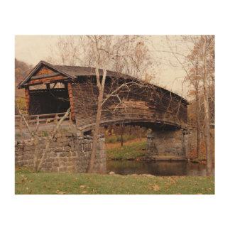 Covered Bridge Wood Canvas