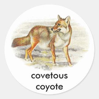covetous coyote classic round sticker