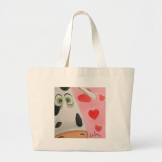 Cow face hearts cute Valentines picture Large Tote Bag