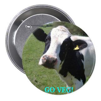 cow, GO VEG! 7.5 Cm Round Badge