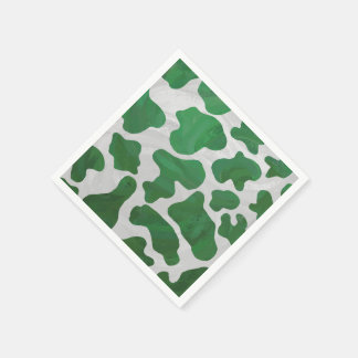 Cow Green and White Print Paper Napkins
