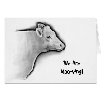 Cow in Pencil, Moving Announcement: Moo-ving Card
