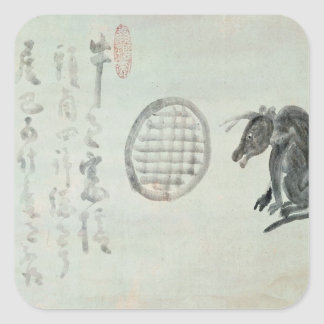 Cow, Oval Window and Haiku Square Sticker