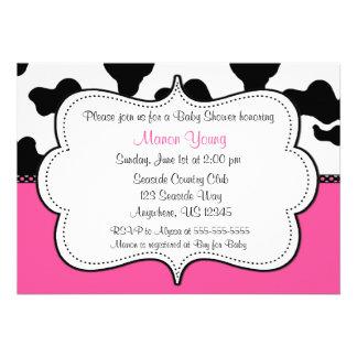 Cow Print Pink Invitaiton Personalized Invites