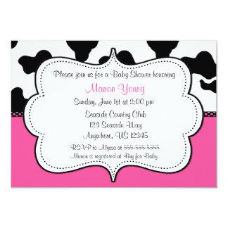 Cow Print Pink Invitaiton 13 Cm X 18 Cm Invitation Card