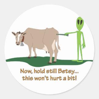 Cow Probe Classic Round Sticker