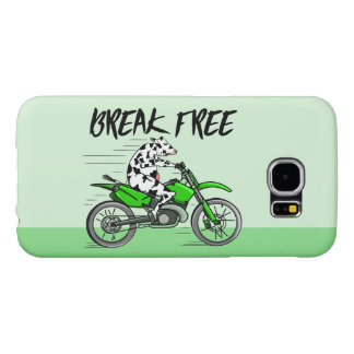 Cow riding a bright green motorcycle samsung galaxy s6 cases