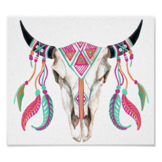 Cow Skull with Dream Catchers Poster