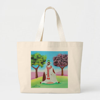 Cow with a scarf Gordon Bruce art Large Tote Bag