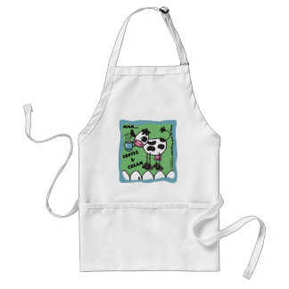 Cow with Coffee Cup  bordered mmm...coffee and cre Standard Apron