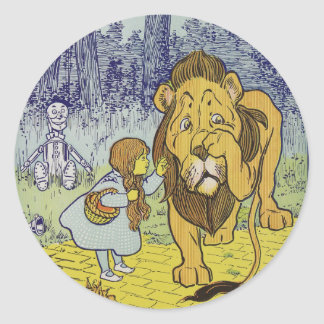 Cowardly Lion Wizard of Oz Book Page Classic Round Sticker