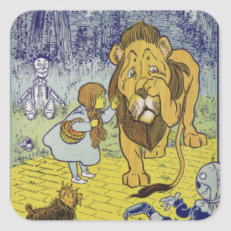 Cowardly Lion Wizard of Oz Book Page Square Sticker