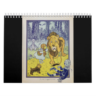 Cowardly Lion Wizard of Oz Book Page Wall Calendars