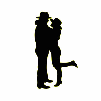 Cowboy and Cowgirl in Love Silhouette Standing Photo Sculpture