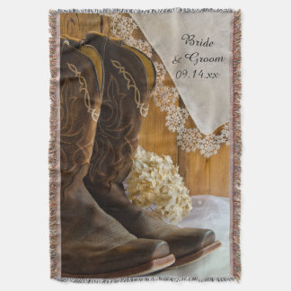 Cowboy Boots and Lace Country Wedding Throw
