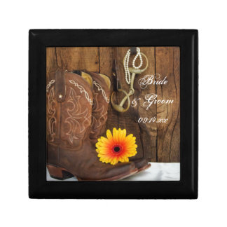 Cowboy Boots, Daisy Horse Bit Country Wedding Gift Box