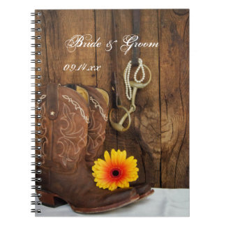 Cowboy Boots, Daisy Horse Bit Country Wedding Note Book