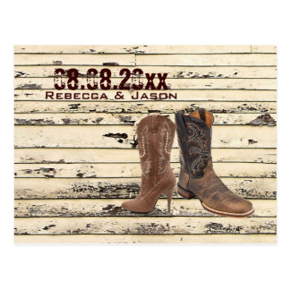 Cowboy Boots Western country Wedding save the date Postcard