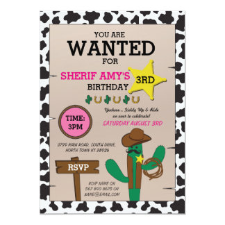 Cowboy Cowgirl Birthday Party Girls Any Age Invite