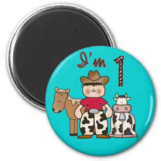 Cowboy  First Birthday 6 Cm Round Magnet