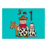 Cowboy First Birthday Invitation Note Card