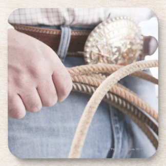 Cowboy holding a rope beverage coasters