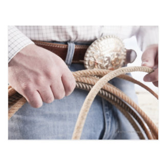 Cowboy holding a rope postcard
