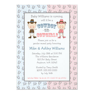 Cowboy or Cowgirl Gender Reveal Party 13 Cm X 18 Cm Invitation Card