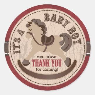Cowboy Rocking Horse Western Baby Shower Round Sticker