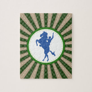 Cowboy Rodeo Green Blue Jigsaw Puzzle