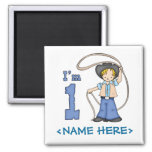 Cowboy Roper 1st Birthday Square Magnet