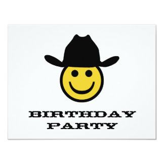 Cowboy Smiley Birthday Party Card