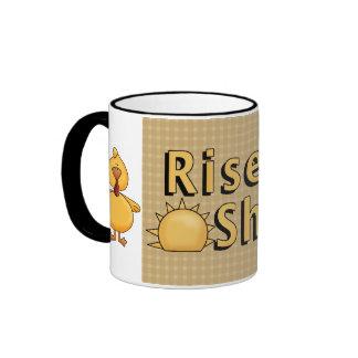 Cowboy Tan Rise & Shine Rooster/Hen Coffee Cup Mug