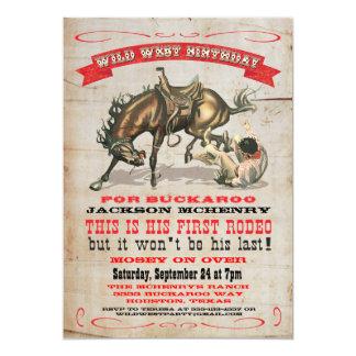 Cowboy Western 1st Birthday Party Invitations