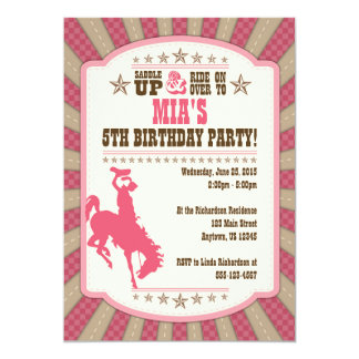 Cowgirl 5th Birthday Party Girl Invitation
