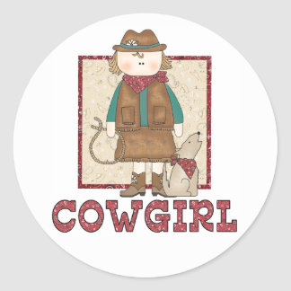 Cowgirl and Coyote Classic Round Sticker
