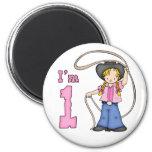 Cowgirl Roper 1st Birthday 6 Cm Round Magnet