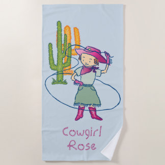 Cowgirl Rose Lasso Tricks Beach Towel