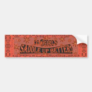 Cowgirls Saddle Up Better, Orange/Pink/Black 2 Bumper Sticker