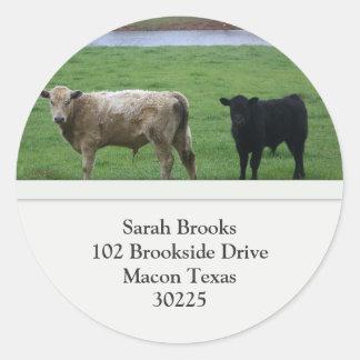 Cows Address Label Round Sticker