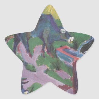 Cows at Sunset by Ernst Ludwig Kirchner Star Sticker