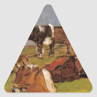 Cows in a Field by Eugene Boudin Triangle Sticker
