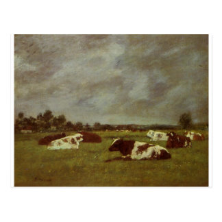 Cows in a Meadow, Morning Effect by Eugene Boudin Postcard