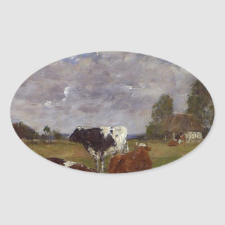 Cows in a Pasture by Eugene Boudin Oval Sticker