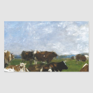 Cows in a Pasture by Eugene Boudin Rectangular Sticker